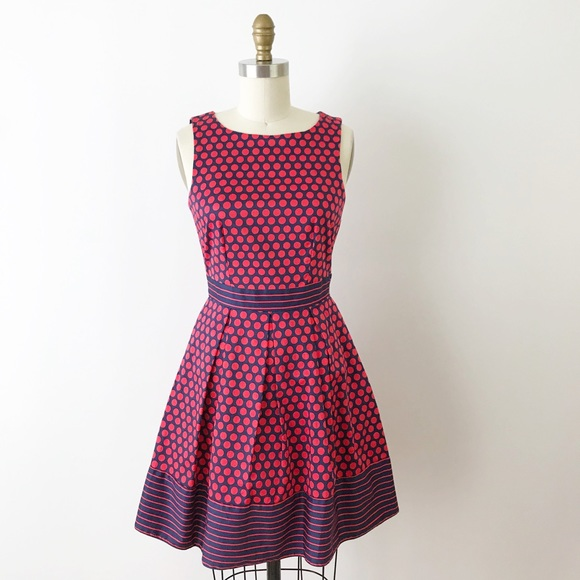 b68777d0a30 Modcloth Red   Navy Polka Dot Fit Flare Dress S 4